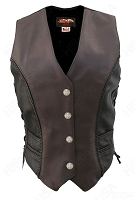 Womens Braided Black-Brown Leather Vest Genuine Mercury Dime (Two Tone)
