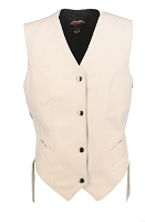 Womens White Leather Biker Motorcycle Vest - Side Laces
