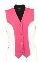 Womens Pink / White Leather Biker Motorcycle Vest - Laces