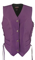 Womens Royal Purple Leather Biker Motorcycle Vest - Laces