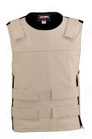 Men's Zippered Bulletproof Style Leather Vest - White