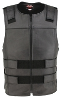 Men's Zippered Bulletproof Style Leather Vest - Black Long Cut