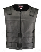 Men's Zippered Bulletproof Style Leather Vest Black
