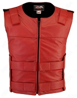 Men's Zippered Bulletproof Style Leather Vest - Red
