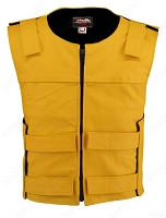 Men's Zippered Bulletproof Style Leather Vest - Yellow