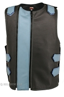Mens Front Zippered Bulletproof Style Leather Vest - Black/Baby Blue