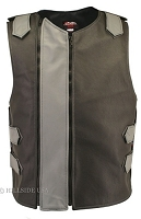 Men's Dual Front Zippered Bulletproof Style Leather Vest - Black/Grey