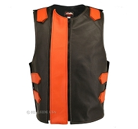 Men's Dual Front Zippered Bulletproof Style Leather Vest -Black/Orange