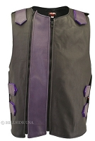 Men's Dual Front Zippered Bulletproof Style Leather Vest -Black/Purple
