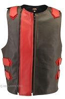 Men's Dual Front Zippered Bulletproof Style Leather Vest - Black/Red