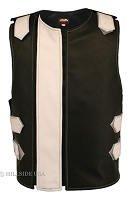Men's Dual Front Zippered Bulletproof Style Leather Vest - Black/White
