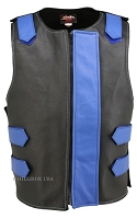 Leather Bulletproof Style Vest - Removable Flap - Black / Blue