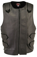 Leather Bulletproof Style Vest - Removable Flap - Black