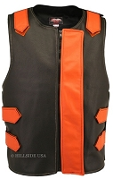 Leather Bulletproof Style Vest - Removable Flap - Black / Orange