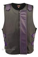 Leather Bulletproof Style Vest - Removable Flap - Black / Purple