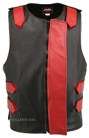 Leather Bulletproof Style Vest - Removable Flap - Black / Red