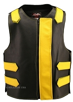 Leather Bulletproof Style Vest - Removable Flap - Black / Yellow