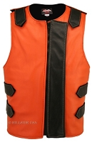 Leather Bulletproof Style Vest - Removable Flap - Orange / Black