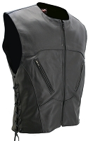 Mens The Interceptor Leather Bulletproof Style Vest Black