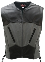 Interceptor Lace Side Leather Biker Vest Black/Grey