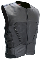 The Interceptor Leather Biker Motorcycle Vest - Black