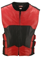 Mens The Interceptor Leather Bulletproof Style Vest Red/Black