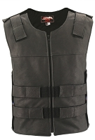Mens Black Full Perforated Zippered Bulletproof Style Leather Vest