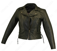 Womens Beltless Black Leather Biker Jacket Side Lace