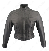 Womens Shaped Black Leather Biker Jacket - Gun Pockets