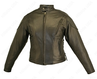 Womens Shaped Vented Leather Biker Jacket - Gun Pockets