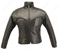Womens Braided Vented Leather Biker Jacket - Gun Pockets
