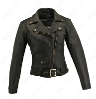 Womens Classic Black Leather Biker Jacket - Gun Pockets