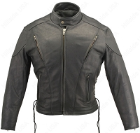 Men's Full Black Leather Vented Biker Jacket with Gun Pockets
