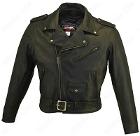 Men's Basic Belted Black Leather Motorcycle Jacket with Gun Pockets