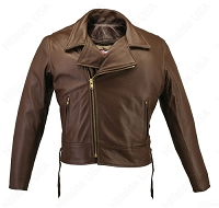 Men's Beltless Brown Leather Biker Jacket with Concealed Gun Pockets