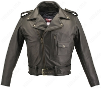 Men's D Pocket Biker Black Leather Jacket with Concealed Gun Pockets