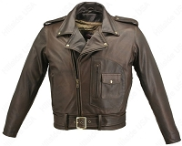 Men's D Pocket Biker Distressed Brown Leather Jacket with Gun Pockets