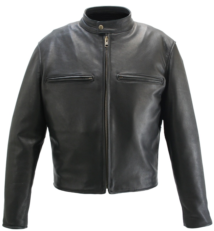 5e0305180 Men's Cafe Racer Black Leather Motorcycle Jacket with Gun Pockets