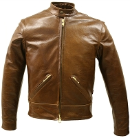 Mens Brown Bison Leather Brown Biker Jacket with Gun Pockets