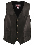 Men's Cowhide Basic Black Leather Vest - Gun Pockets