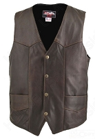 Men's Distressed Brown Basic Leather Biker Vest - Gun Pockets