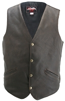 Mens Classic Vintage Leather Biker Vest Brass Snaps