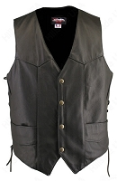 Men's Solid Back Panel Black Leather Biker Vest - Gun Pockets