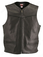 Men's Black Leather Biker Zipper Racer Vest - Pistol Pockets