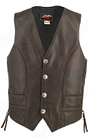Men's Distressed Brown Genuine Buffalo Nickel Leather Vest