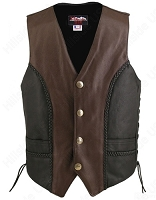 Men's Braided Black-Brown / Genuine Buffalo Nickel Vest