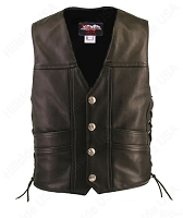Men's Black Leather Cruiser Biker Vest - Pistol Pockets