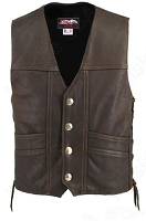Men's Distressed Brown Leather Cruiser Biker Vest