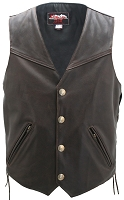Men's Solid Back Distressed Brown Leather Vest - Gun Pockets