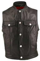Mens Denim Style Leather Vest Stand Up Collar & Gun Pockets